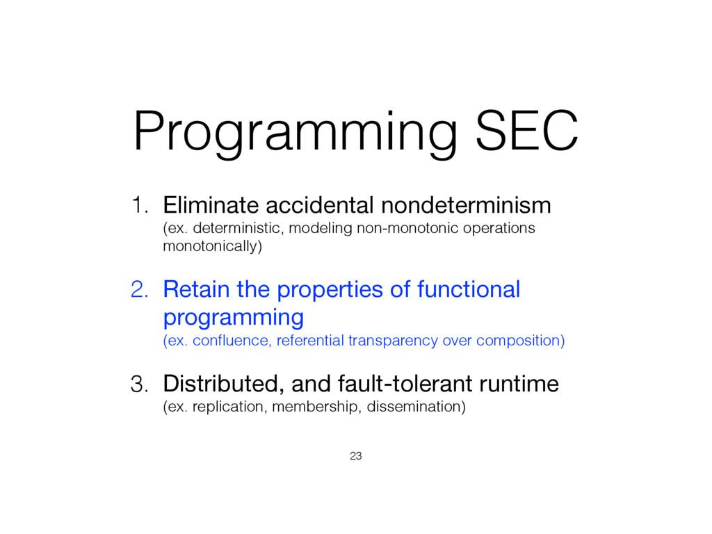 Programming SEC 1. Eliminate accidental nondete...