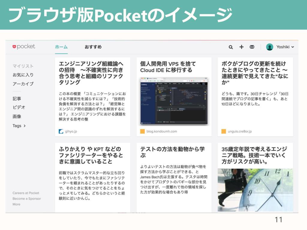 ブラウザ版Pocketのイメージ • あ 11