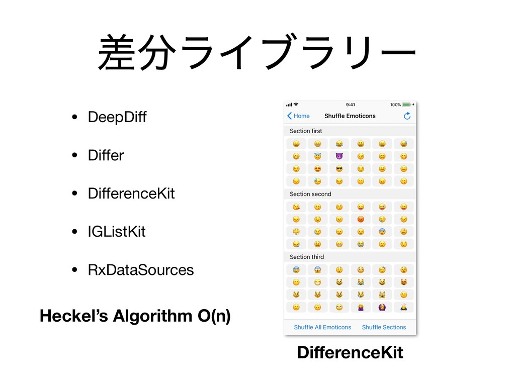 ࠩ෼ϥΠϒϥϦʔ • DeepDiff  • Differ  • DifferenceKit  • ...