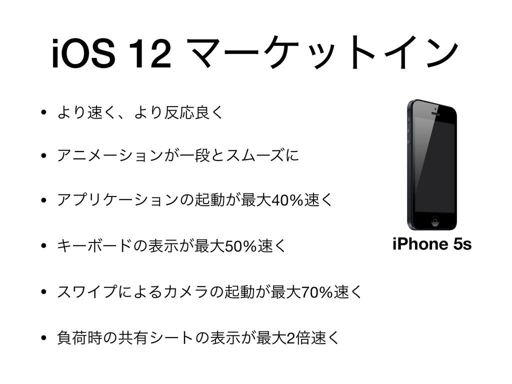 iOS 12 ϚʔέοτΠϯ • ΑΓ͘ɺΑΓԠྑ͘  • Ξχϝʔγϣϯ͕ҰஈͱεϜʔζ...
