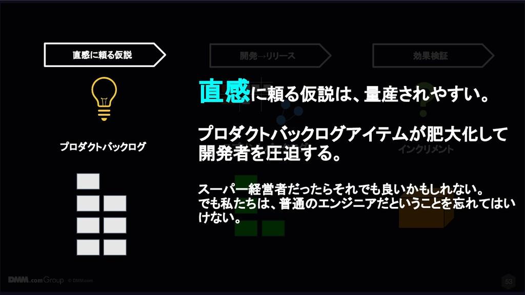 © DMM.com 53 スプリントバックログ インクリメント 開発→リリース 効果検証 直感...
