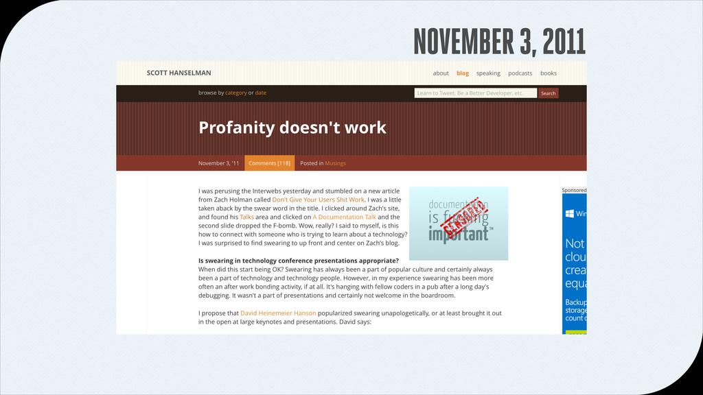 NOVEMBER 3, 2011