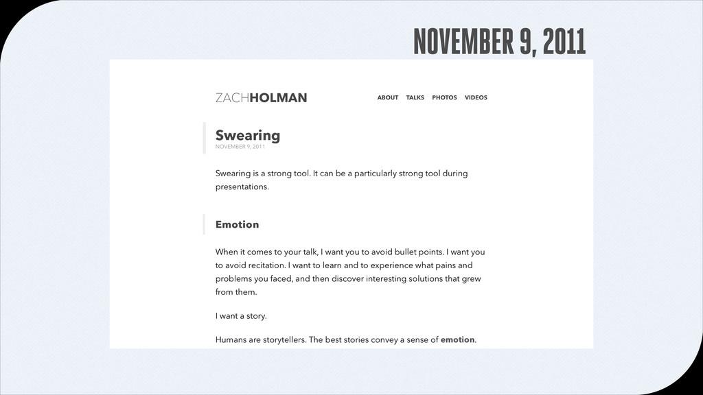 NOVEMBER 9, 2011