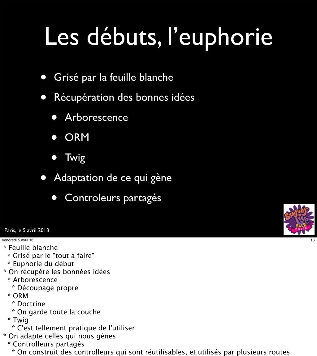 Paris, le 5 avril 2013 Les débuts, l'euphorie •...