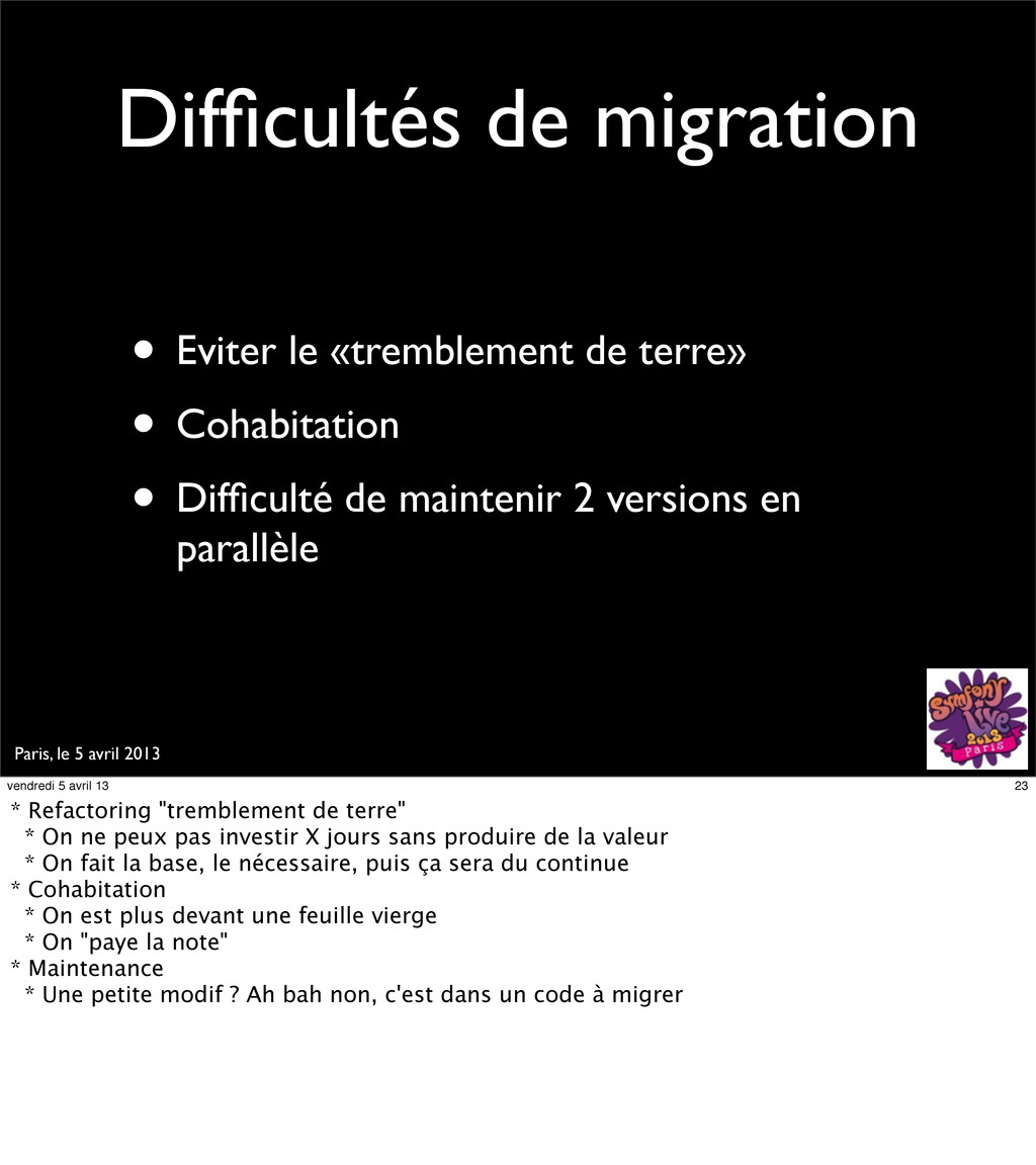 Paris, le 5 avril 2013 Difficultés de migration ...
