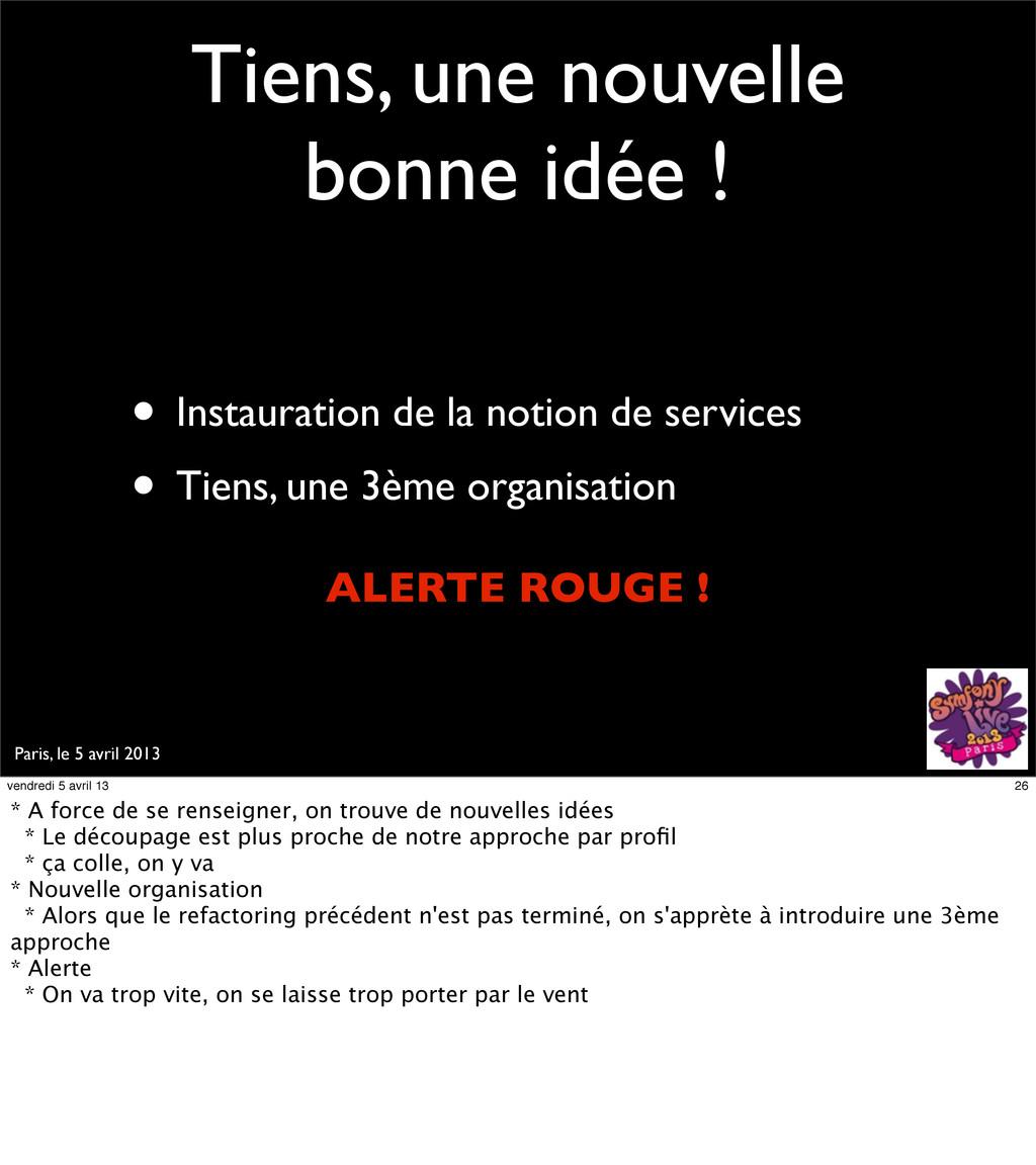 Paris, le 5 avril 2013 Tiens, une nouvelle bonn...