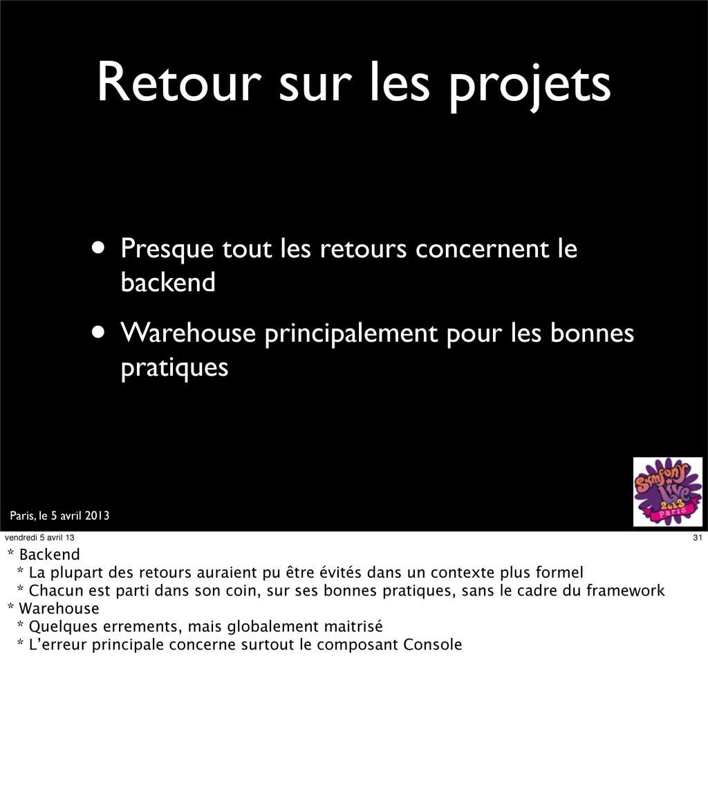 Paris, le 5 avril 2013 Retour sur les projets •...