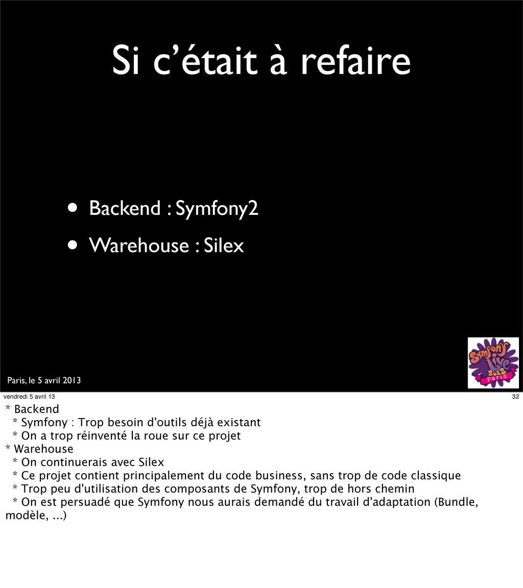 Paris, le 5 avril 2013 Si c'était à refaire • B...