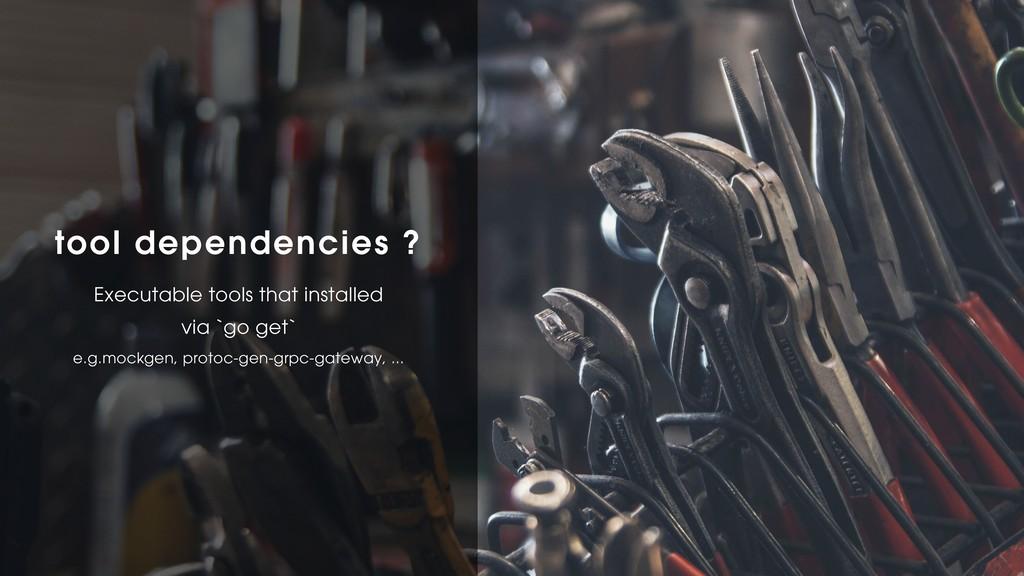 tool dependencies ? Executable tools that insta...