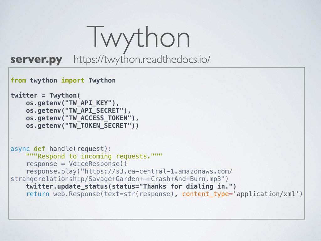 Twython server.py from twython import Twython t...