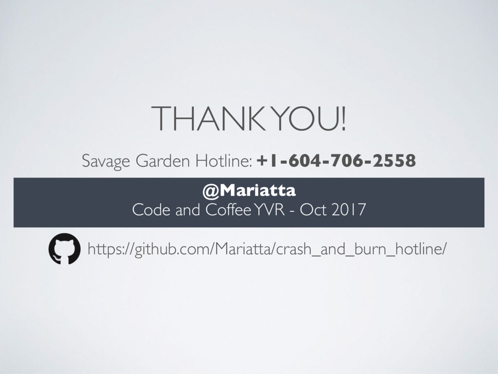 THANK YOU! @Mariatta Code and Coffee YVR - Oct ...