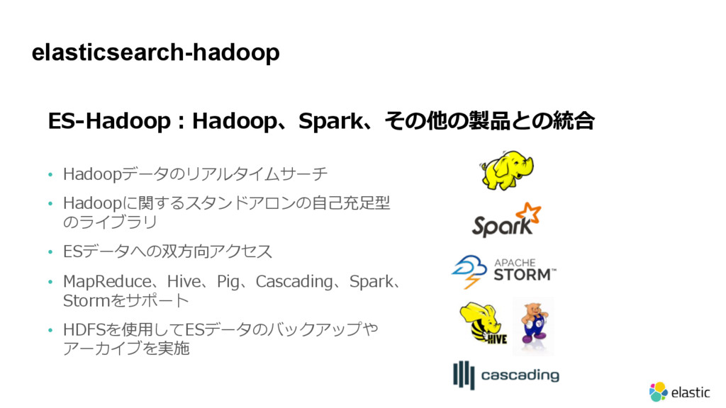 elasticsearch-hadoop 57 - • D E H • PD ecd ER...