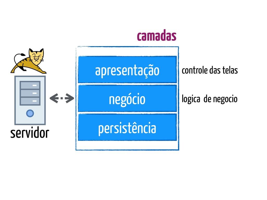 servidor apresentação negócio persistência cont...
