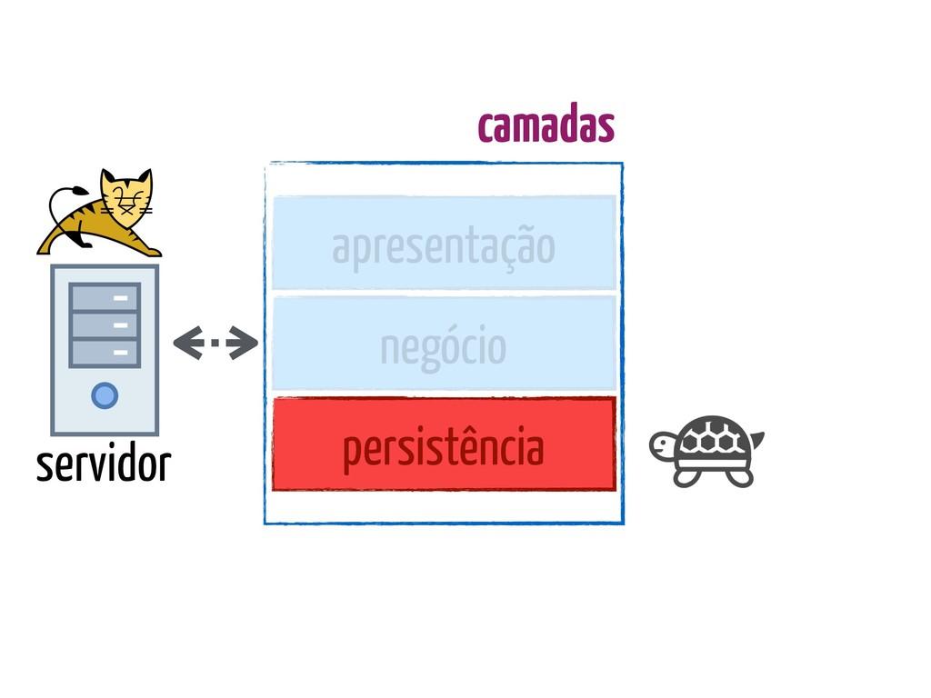 servidor apresentação negócio persistência cama...