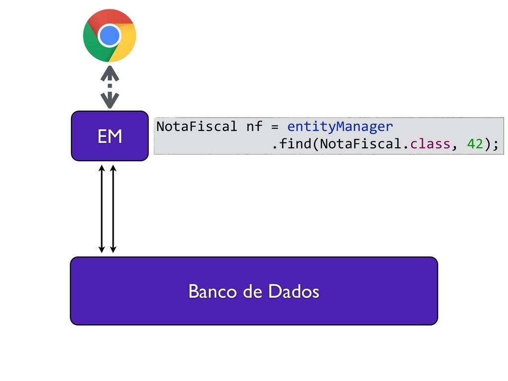 Banco de Dados EM NotaFiscal nf = entityManager...