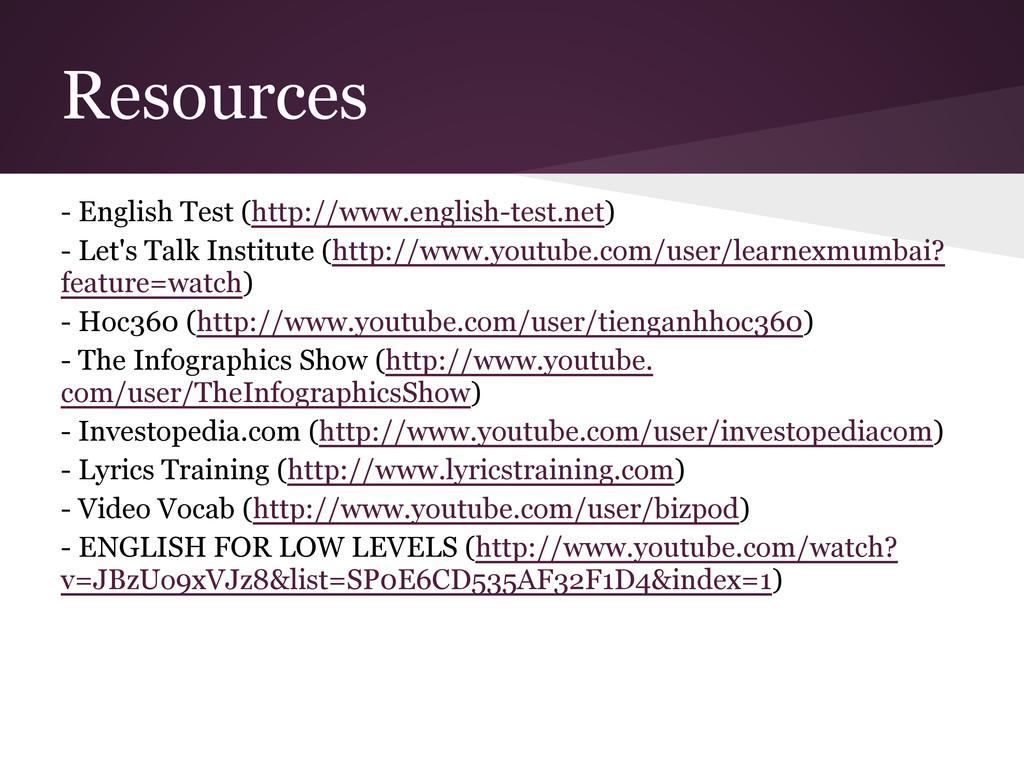Resources - English Test (http://www.english-te...