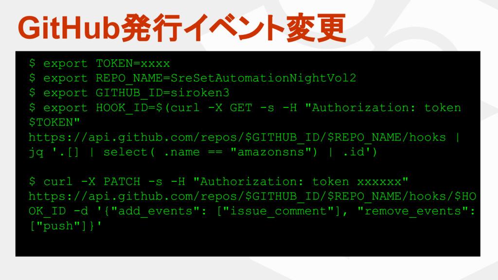 GitHub発行イベント変更 $ export TOKEN=xxxx $ export REP...