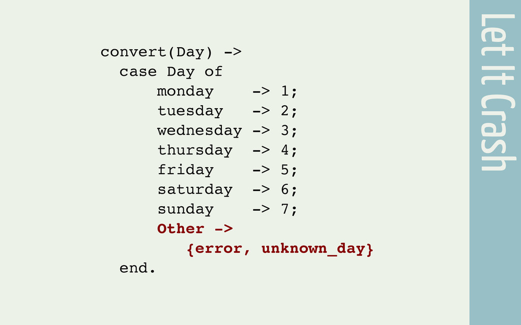 Let It Crash convert(Day) -> case Day of monday...
