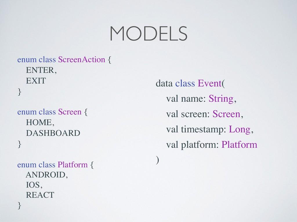 MODELS enum class ScreenAction { ENTER, EXIT } ...