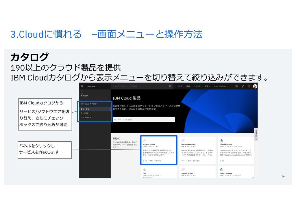 3.Cloudに慣れる –画⾯メニューと操作⽅法 カタログ 190以上のクラウド製品を提供 I...