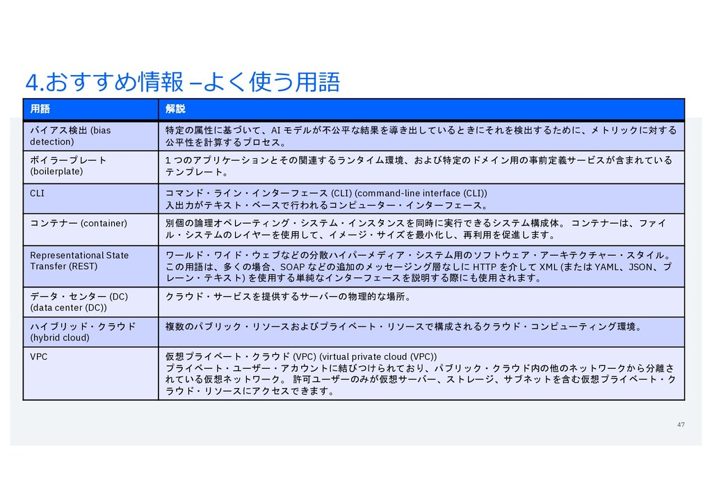 4.おすすめ情報 –よく使う⽤語 47 用語 解説 バイアス検出 (bias detectio...