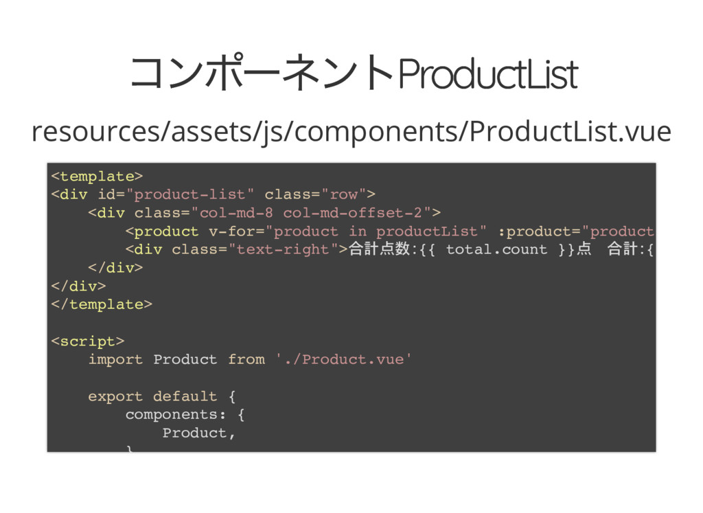 コンポーネントProductList コンポーネントProductList resources...