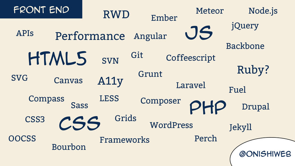 Front end @onishiweb HTML5 Css Js Php LESS Sass...