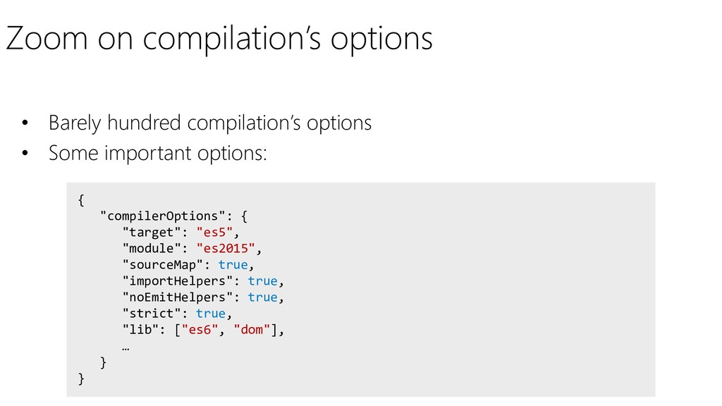 "Zoom on compilation's options { ""compilerOption..."