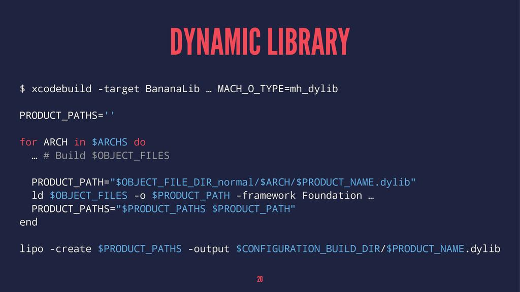 DYNAMIC LIBRARY $ xcodebuild -target BananaLib ...
