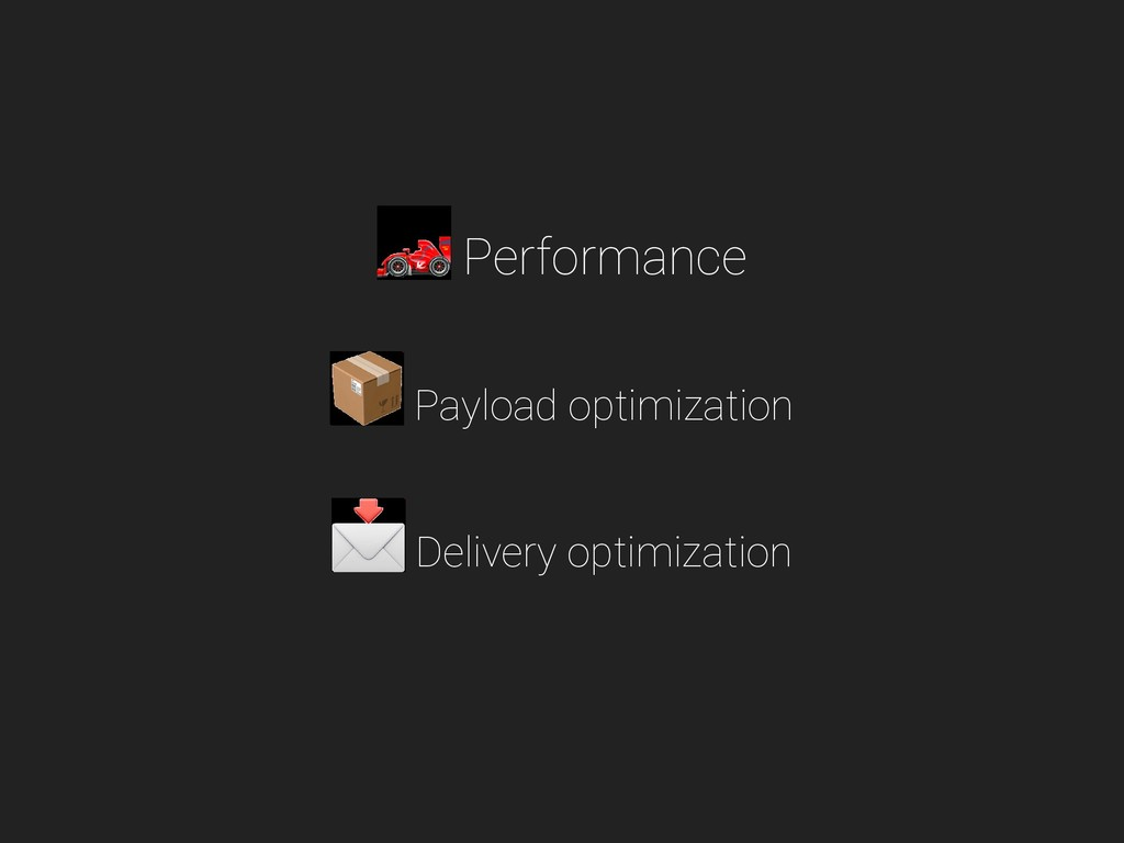 Performance Payload optimization Delivery optim...