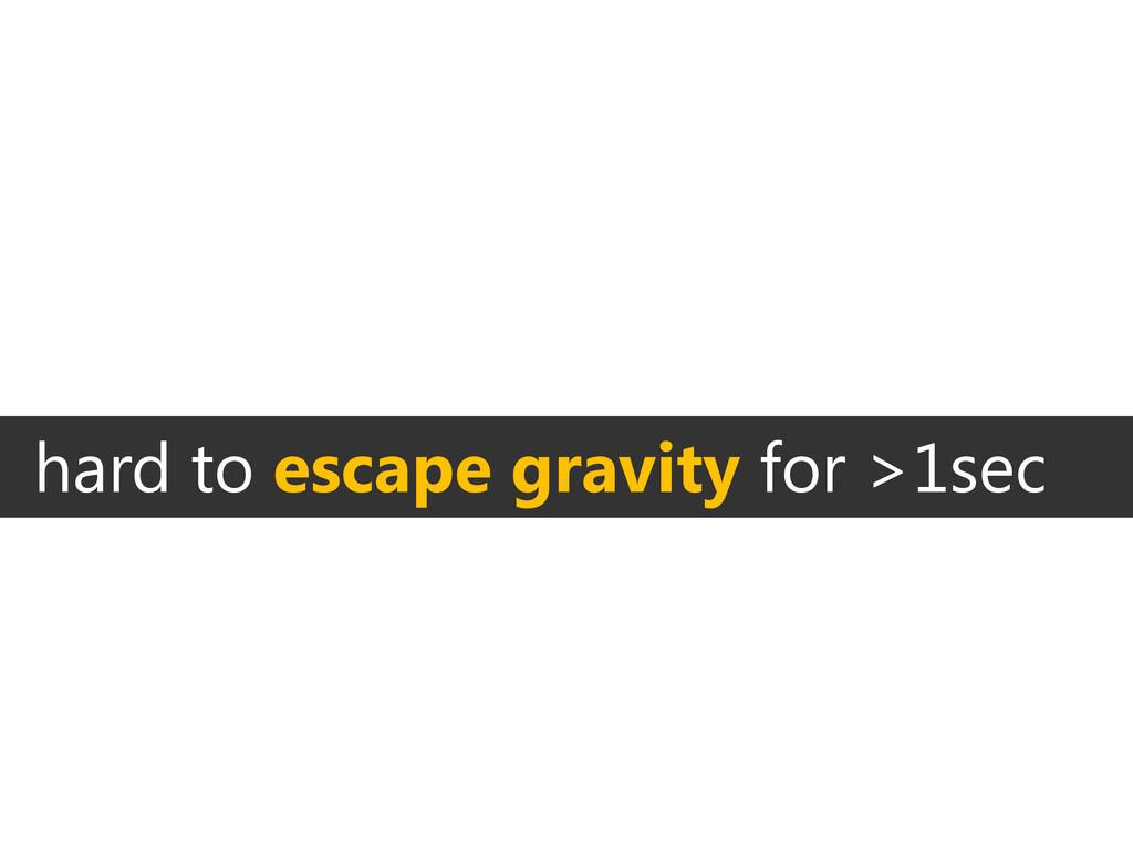 hard to escape gravity for >1sec