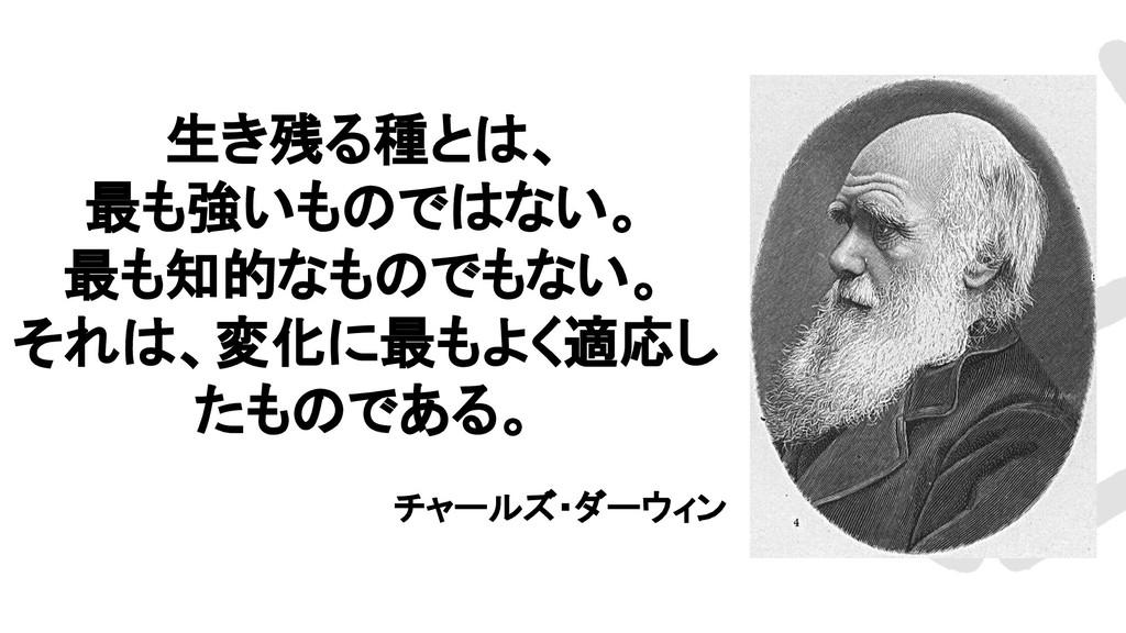 生き残る種とは、 最も強いものではない。 最も知的なものでもない。 それは、変化に最もよく適応...