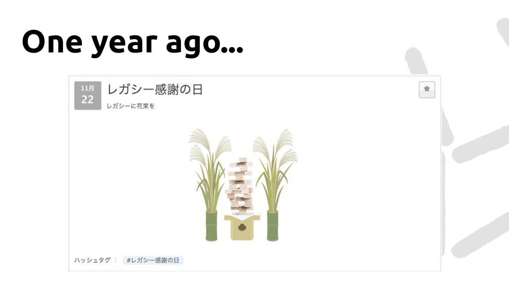 One year ago...