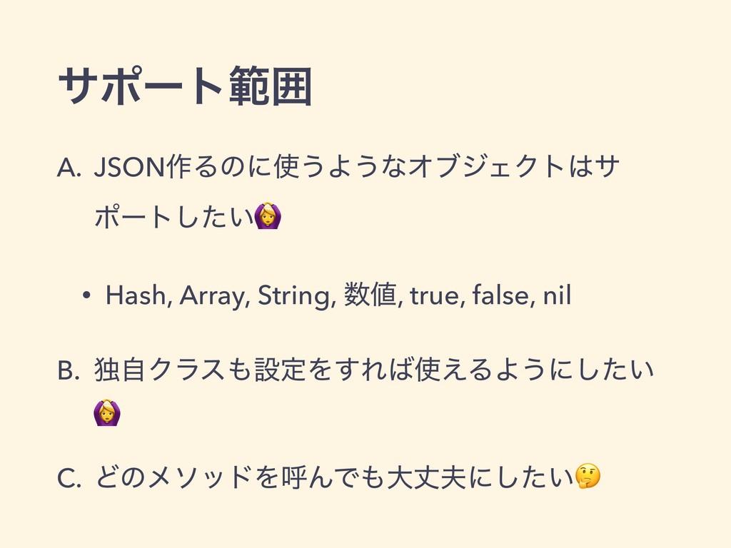 αϙʔτൣғ A. JSON࡞Δͷʹ͏Α͏ͳΦϒδΣΫτα ϙʔτ͍ͨ͠ • Hash, ...