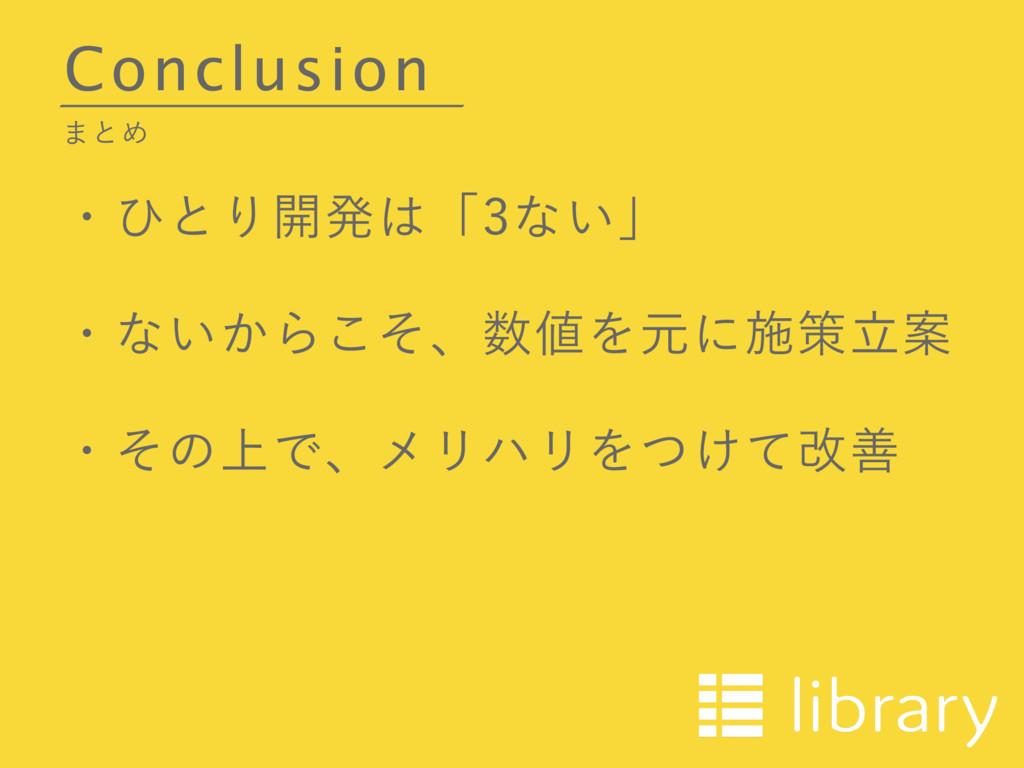 Conclusion ·ͱΊ ɾͻͱΓ։ൃʮͳ͍ʯ ɾͳ͍͔Βͦ͜ɺΛݩʹࢪࡦཱҊ...