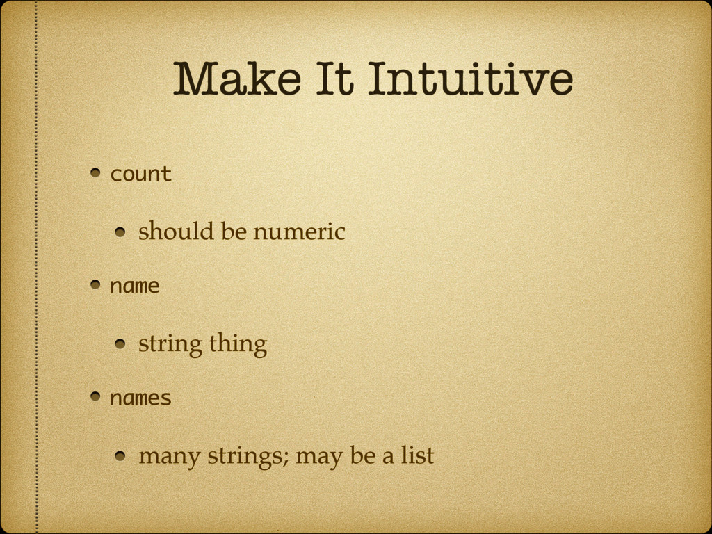 Make It Intuitive count should be numeric name ...