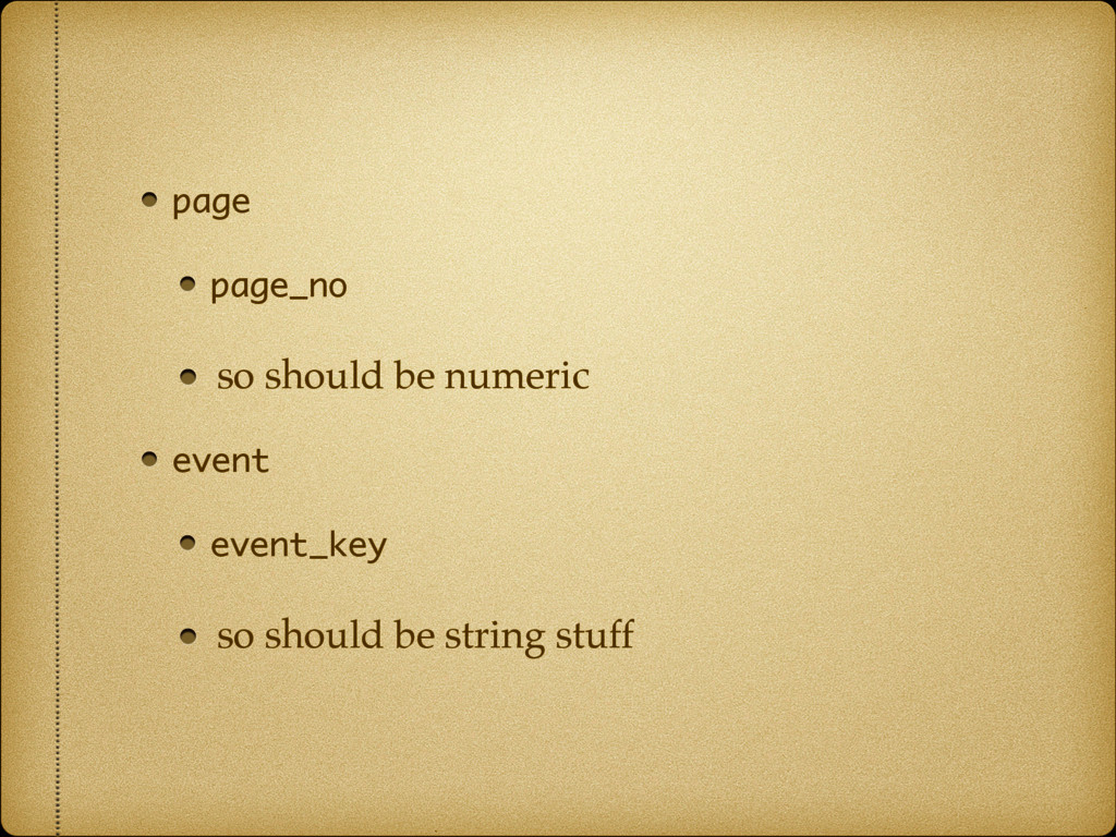 page page_no so should be numeric event event_k...