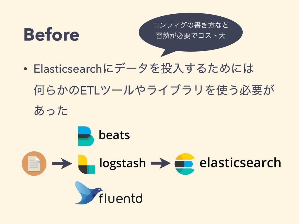 Before • ElasticsearchʹσʔλΛೖ͢ΔͨΊʹ ԿΒ͔ͷETLπʔϧ...