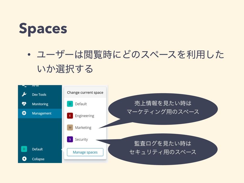Spaces • ϢʔβʔӾཡʹͲͷεϖʔεΛར༻ͨ͠ ͍͔બ͢Δ ࠪϩάΛݟ͍ͨ...