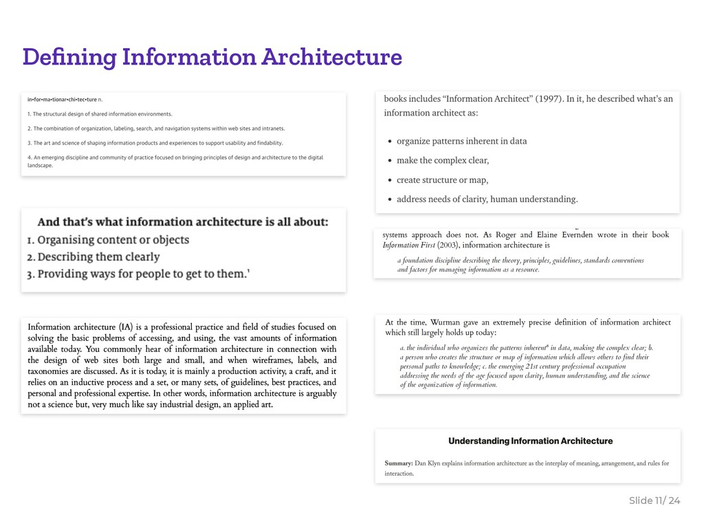 Slide / 24 11 Defining Information Architecture