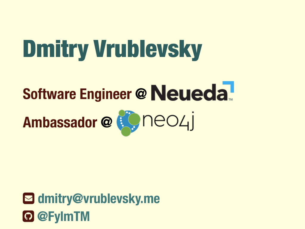 Dmitry Vrublevsky Software Engineer @ ƀ dmitry@...