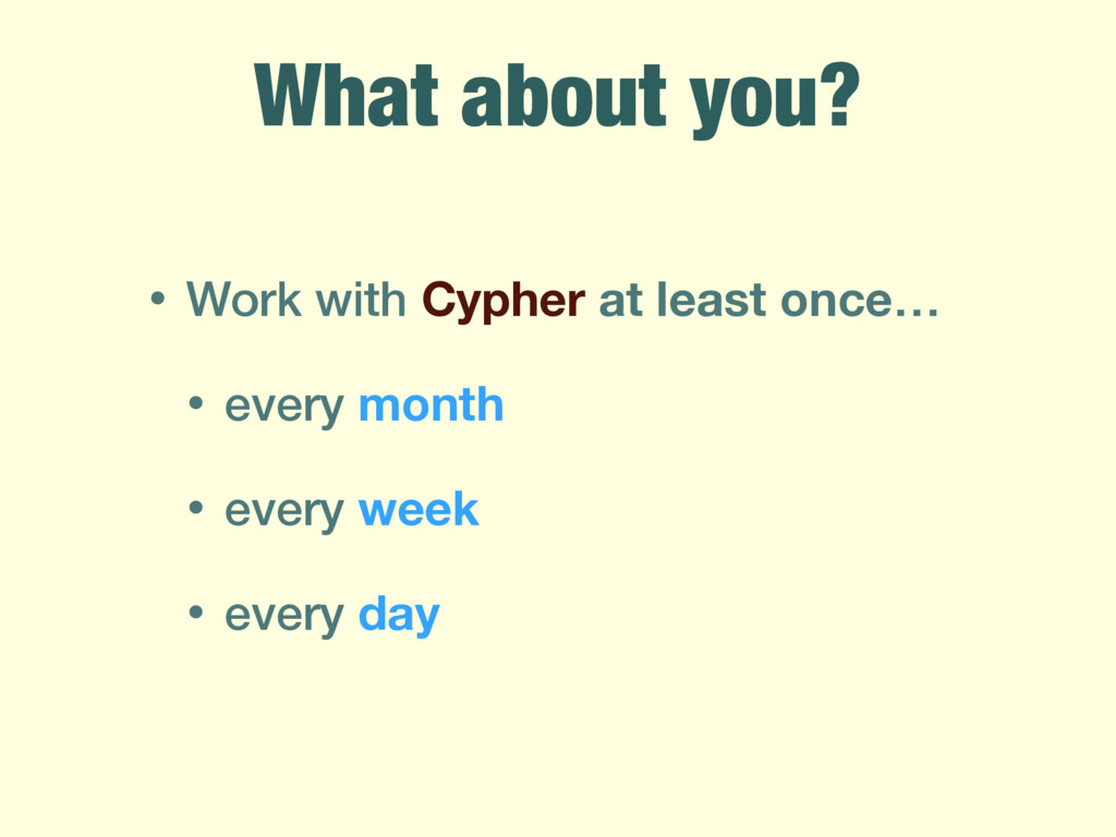 • Work with Cypher at least once… • every month...