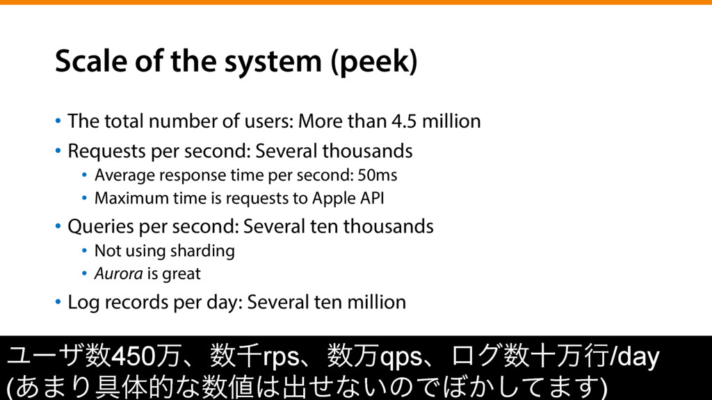 Scale of the system (peek) •  The total number ...