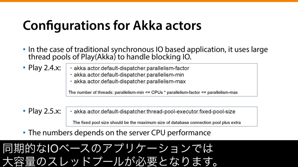 Configurations for Akka actors •  In the case o...