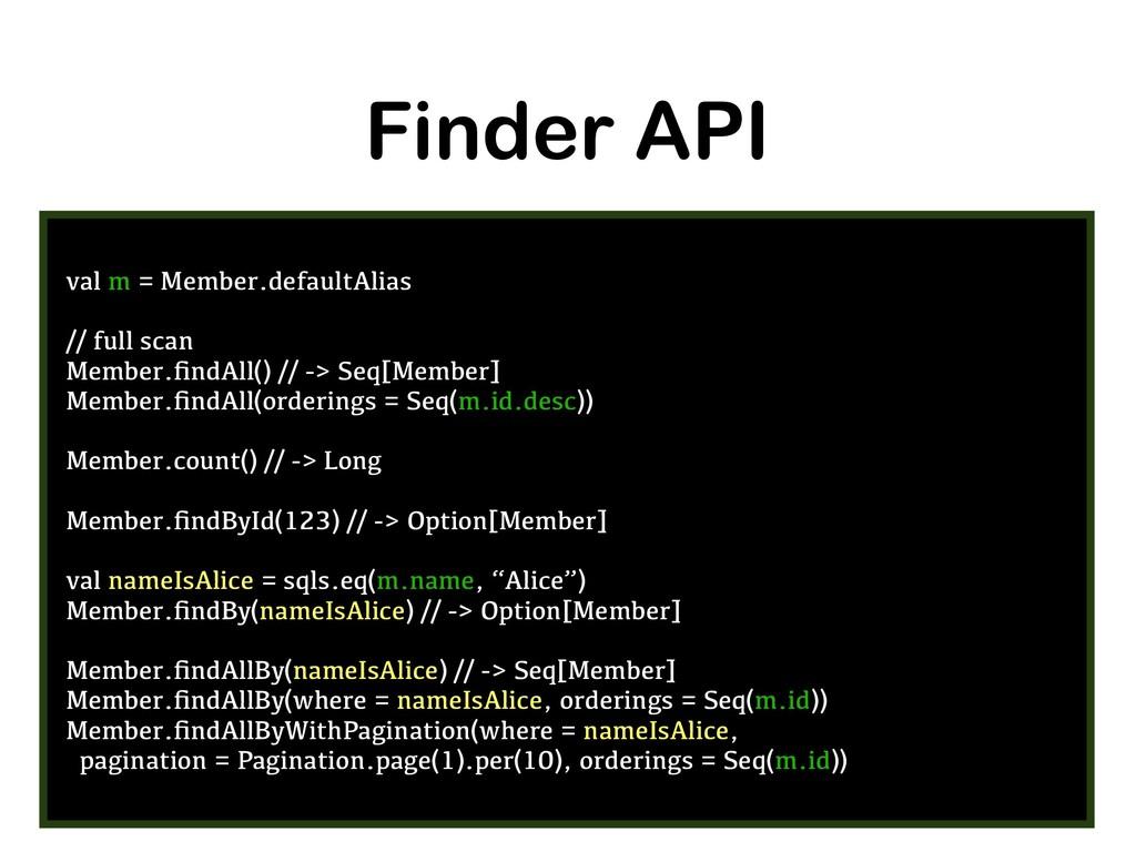 Finder API val m = Member.defaultAlias // full ...