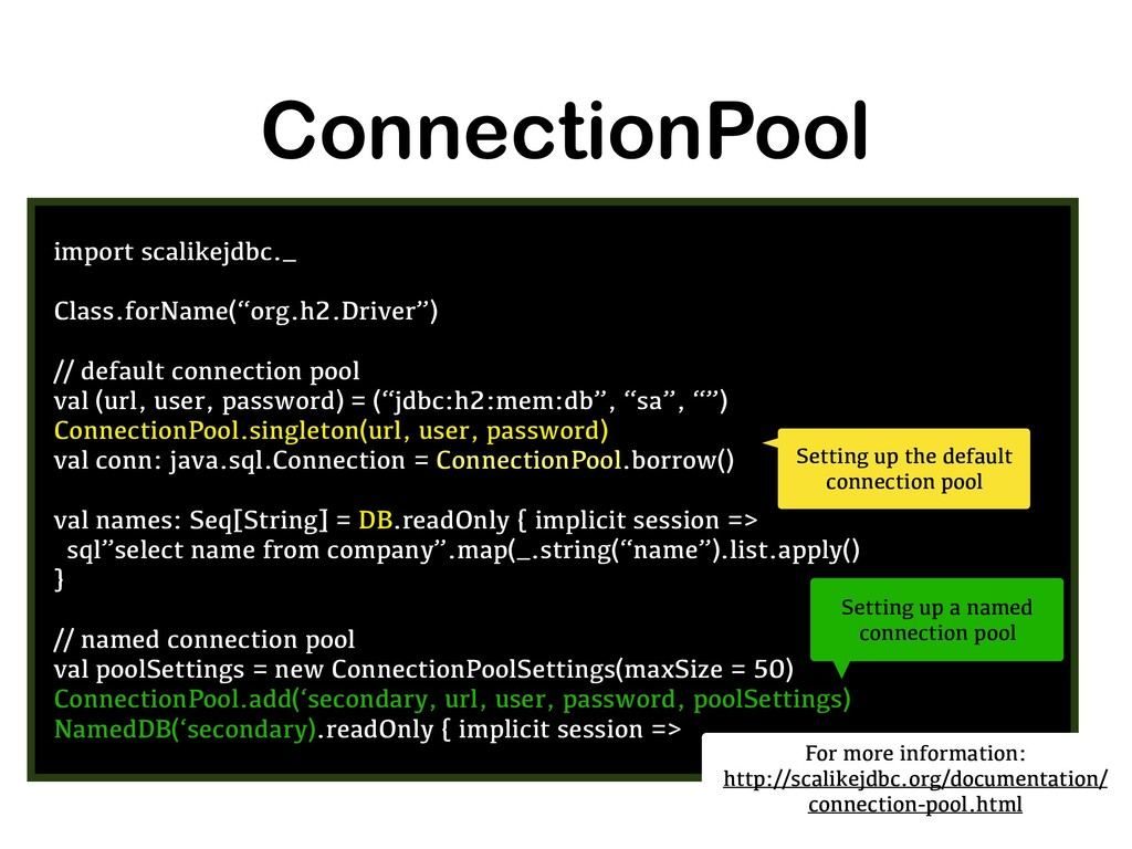 ConnectionPool import scalikejdbc._ Class.forNa...