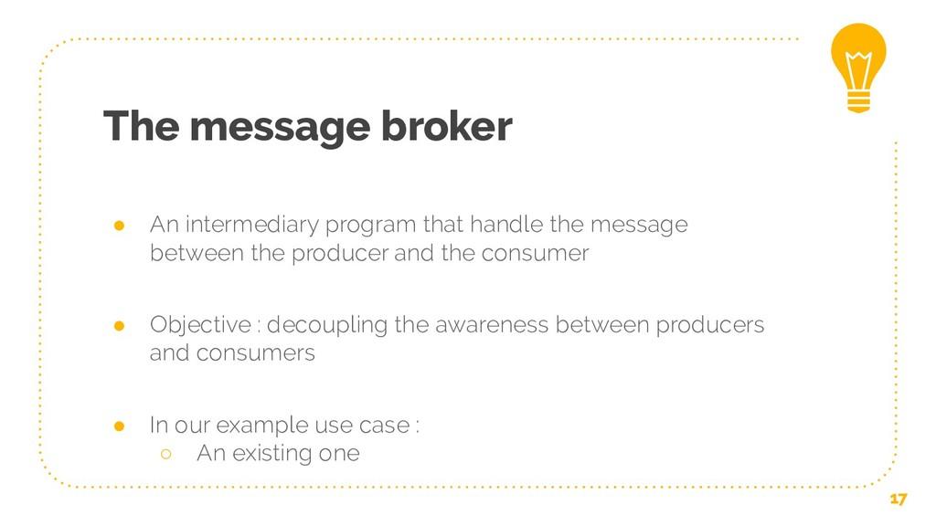 The message broker ● An intermediary program th...