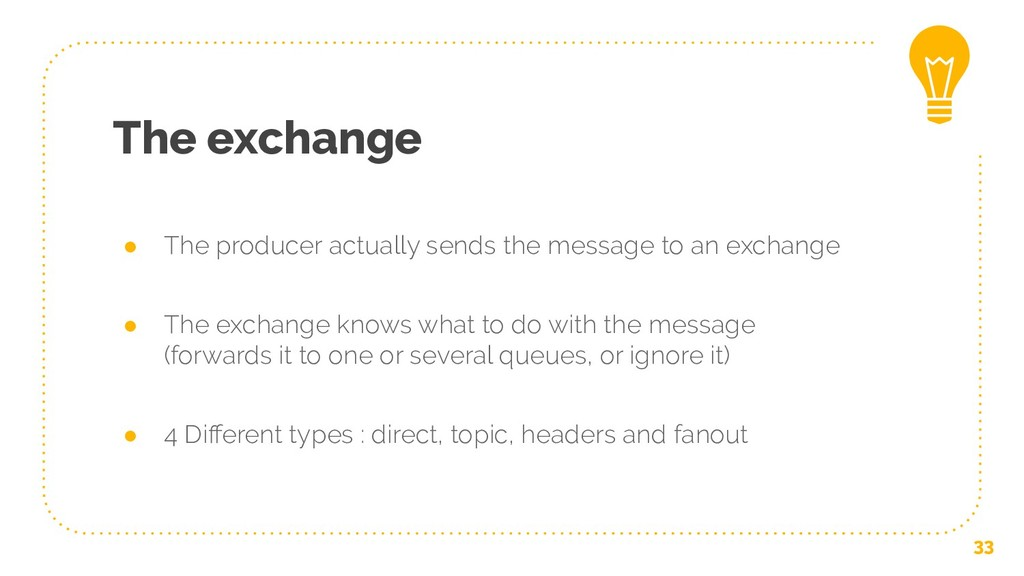The exchange ● The producer actually sends the ...