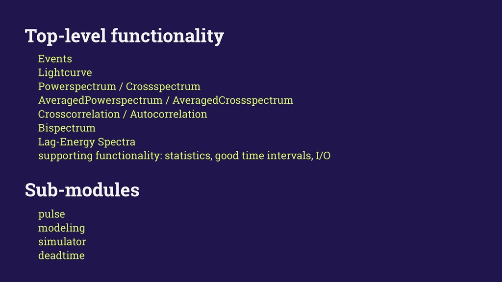 Top-level functionality Events Lightcurve Power...