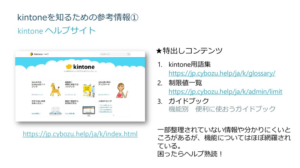 kintoneを知るための参考情報① https://jp.cybozu.help/ja/k/...